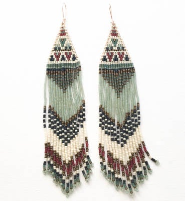 "Image of ""Sea Foam, Rust, & Bone"" Woven Bead Earings"