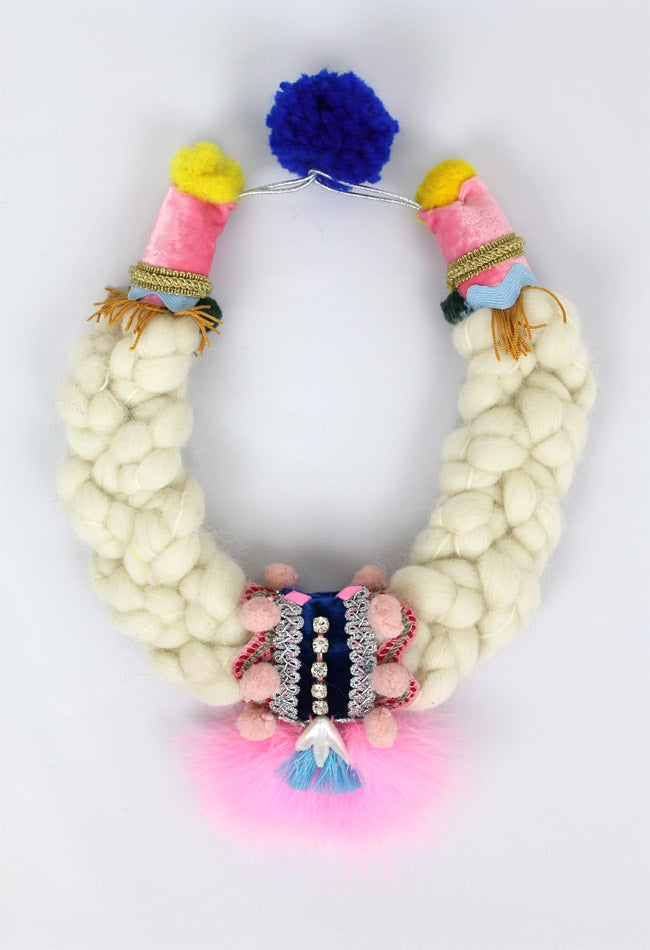 Image of WOOL + PNK FEATHERS COLLAR III