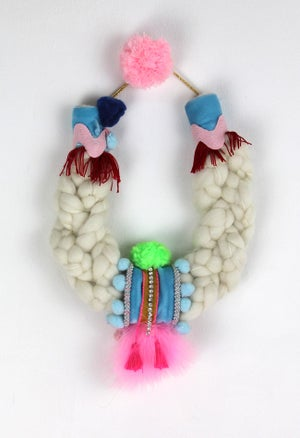 Image of WOOL + PINK FEATHERS COLLAR V