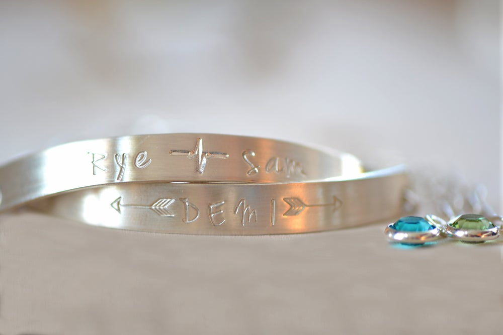 Image of Sterling Silver Half Cuff Bar Bracelet - Birthstone Cuff Bracelet - Bangle Bracelet