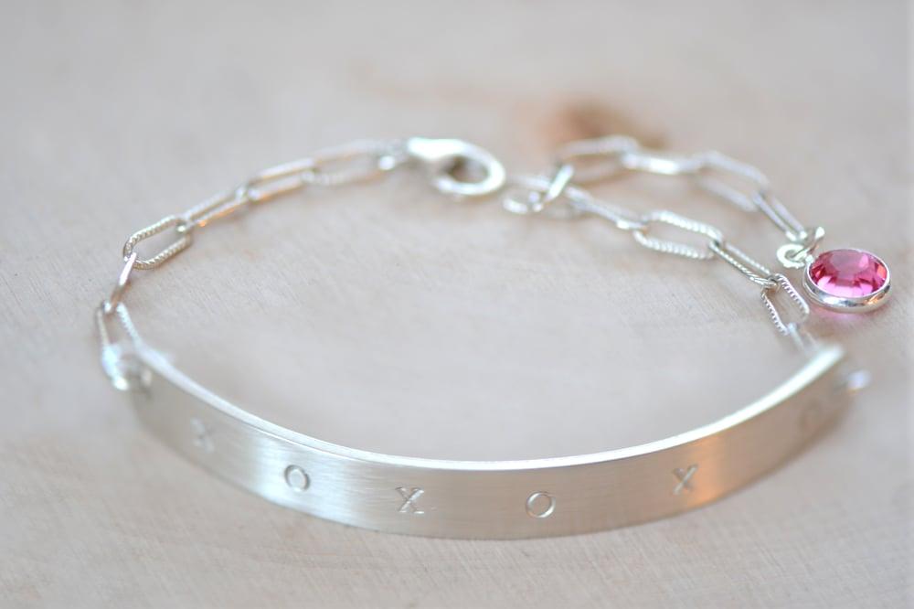 Image of Sterling Silver Half Cuff Bar Bracelet - Birthstone Cuff Bracelet - Bangle Bracelet