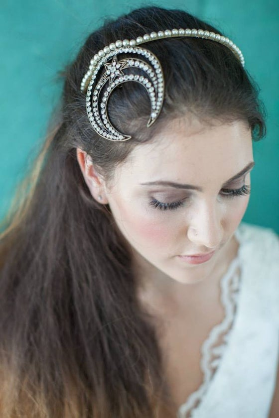 Image of Bespoke crescent moon Art Deco headpiece
