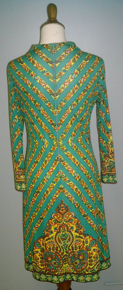 Image of 3/4 Sleeve Turqoise Late 60s to 70's Dress W/ Funky Paisley Pattern <del> 65.00 </del>
