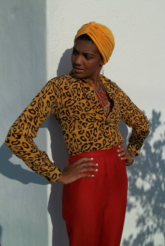 Image of Retro Fitted Animal Print Silk Lined Blouse