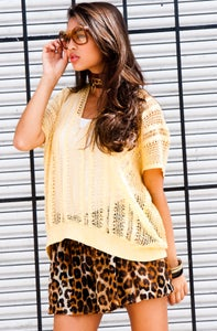 Image of Pale Yellow 80's See-Through Boxy Knit  Sweater