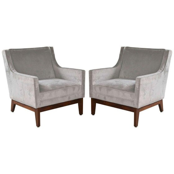 Image of Mid-Century Dove Grey Lounge Chairs - A Pair