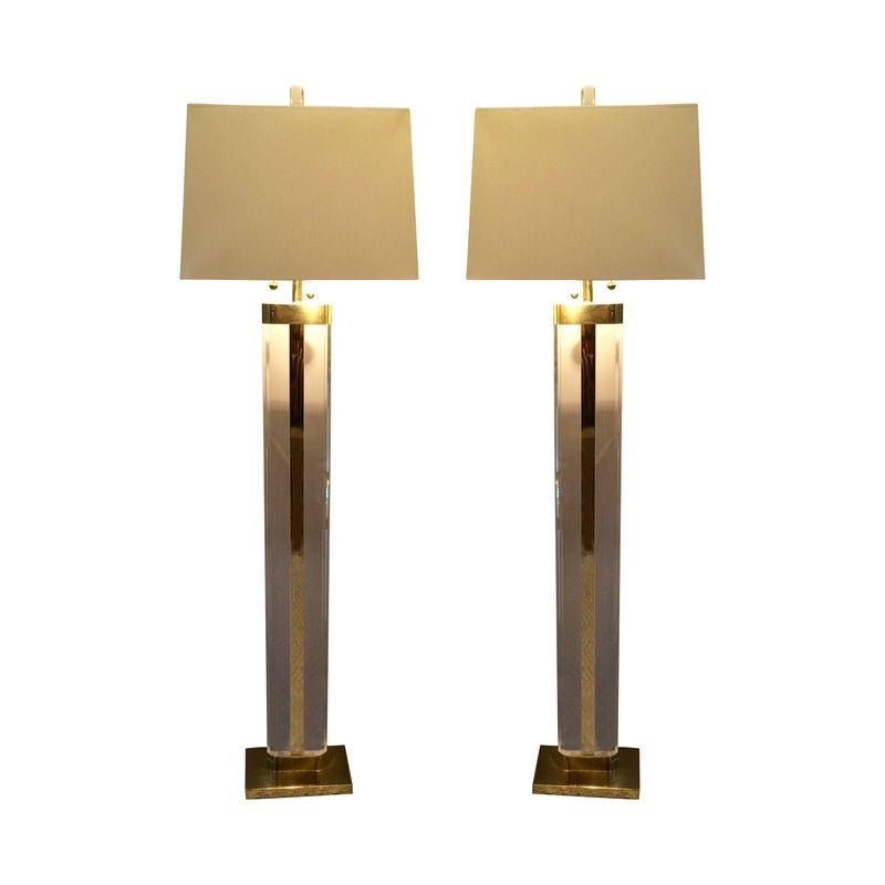 Image of Vintage Lucite Floor Lamps - A Pair