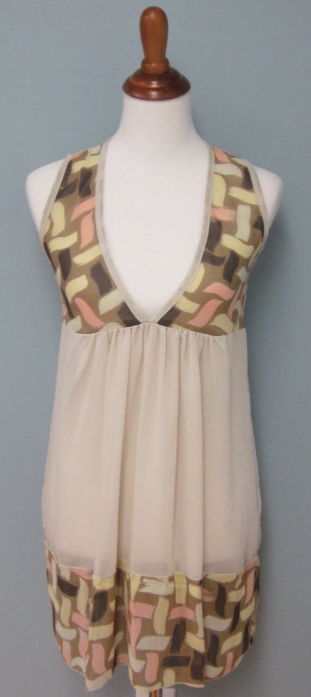Image of Semi-Sheer Taupe Dress With Graphic Print Bodice & Border           <del> 35.00 </del>