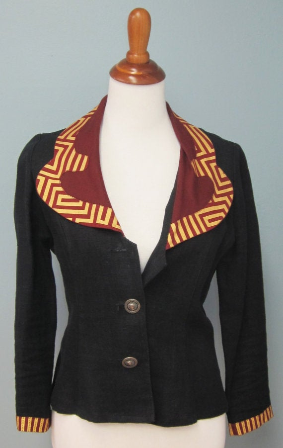 Image of Cute-y Black Summer Blazer With African Print Lapel And Sleeve Detail