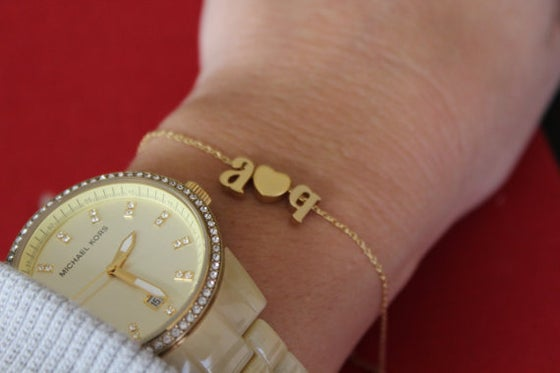 Image of lower case love letter chain bracelet