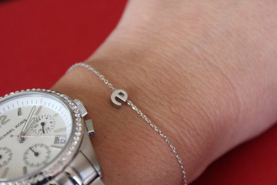 Image of lower case initial chain bracelet