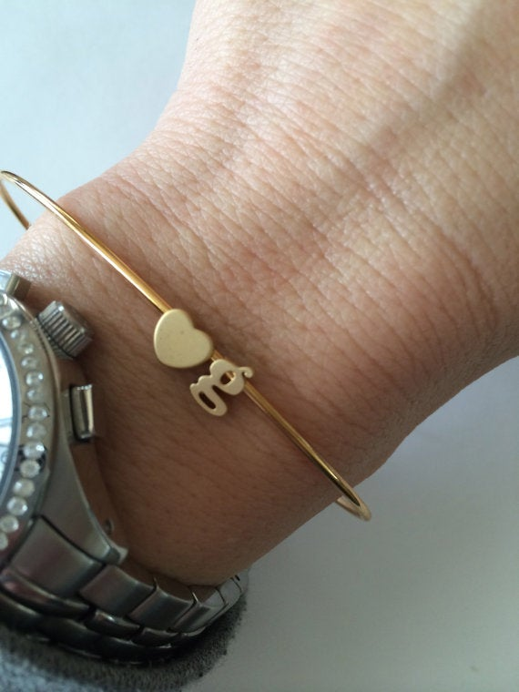 Image of double initial bangle