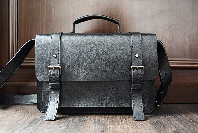 Image of Custom Handmade Leather Briefcase, Messenger Bag Shoulder Bag Men's Handbag D090