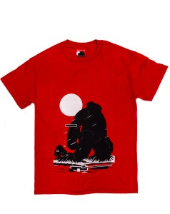 Image of 'Yeti Over Mount Fuji Hong Kong Crimson Red' Tee