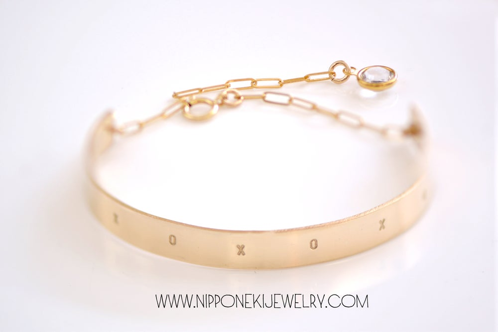 Image of Gold Cuff Bar Bracelet - Long Bar Bracelet - Sleek & Modern Bracelet