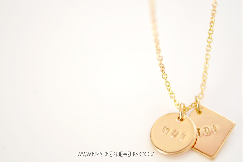 Image of Moi & Toi Gold Necklace - Me and You Necklace - Minimal Jewelry - Personalized Gold Pendant Necklace