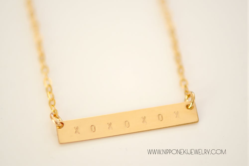 Image of XOXOXOXO Gold Bar Necklace - Minimal Jewelry - Valentine's Day Special!!