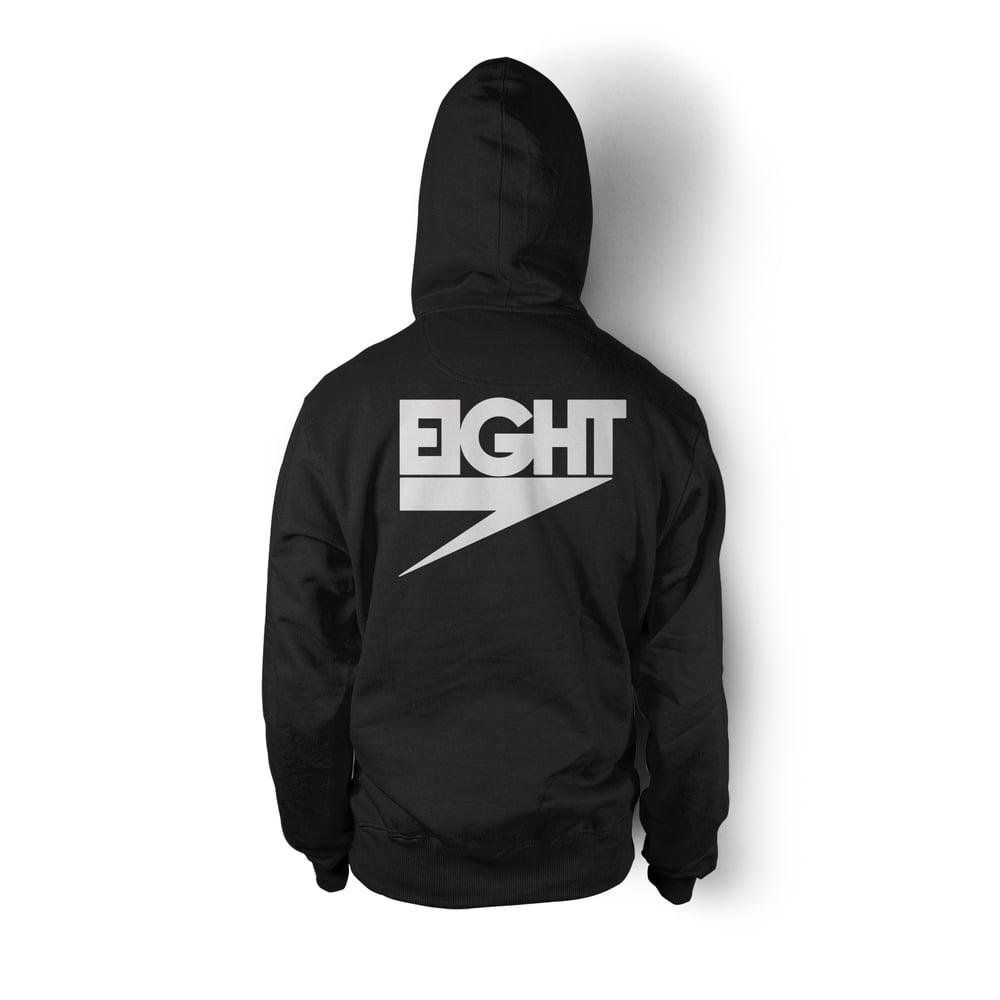 Zip-Up Electric Eight Hoodie (White/Black)