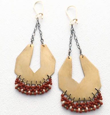 "Image of ""Serpentina""Earrings with Rust+Cream beads"