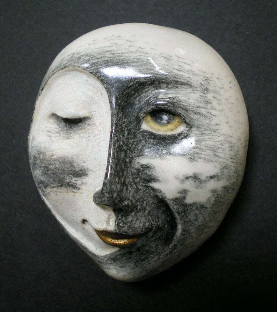 Image of Passing in the Night - Porcelain Mask Sculpture, Moon Face Pendant, Art to Wear, Original Mask Art