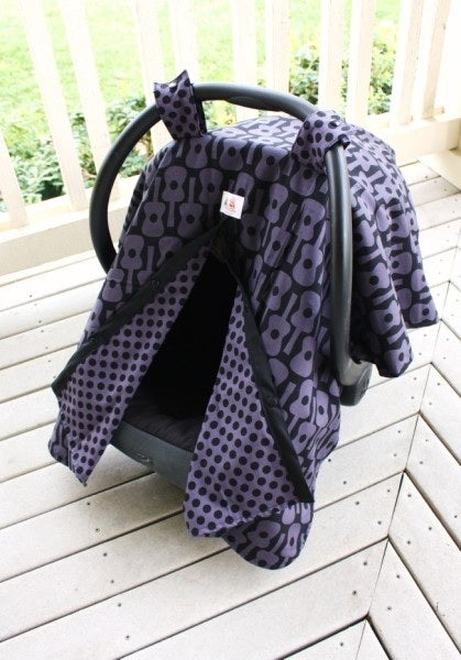 Image of CAR SEAT CANOPY - GRAY GROOVY GUITARS & DUMB DOTS