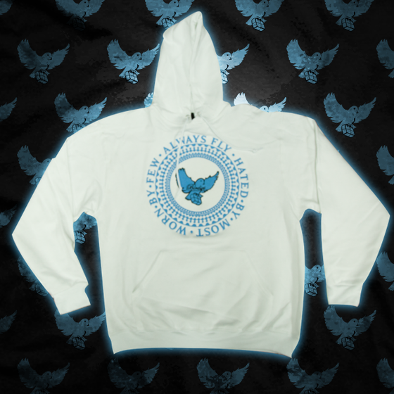 Image of White/ L.Blue Always Fly Crest Hoodie