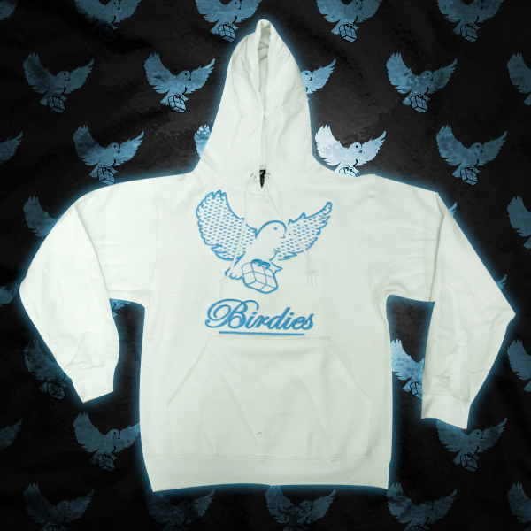Image of White/L.Blue Pattern Birdies Hoodie
