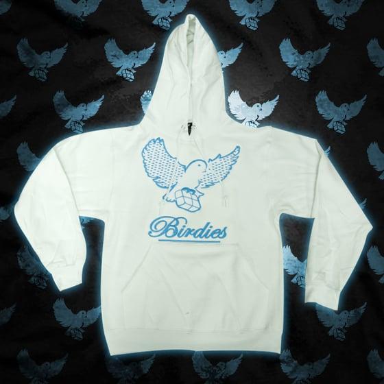 Image of White/L.Blue Pattern Birdies Hoodie