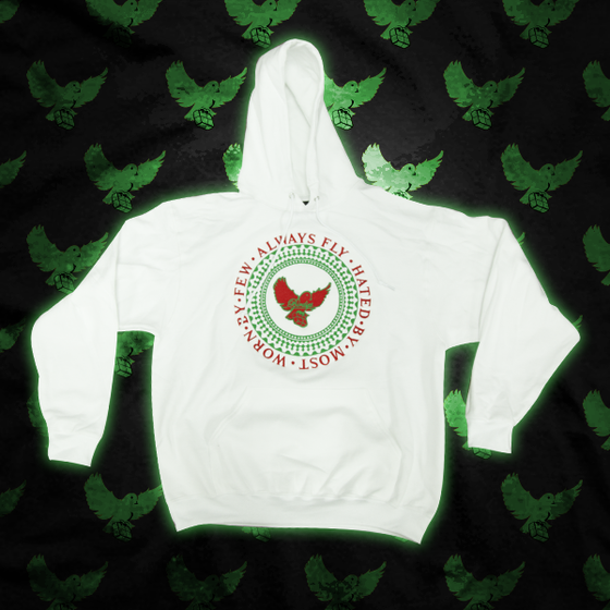 Image of White/Green/Red Always Fly Crest Hoodie