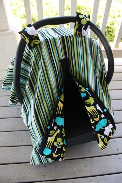 Image of CAR SEAT CANOPY - LAGOON ZOOLOGY & PLAY STRIPE