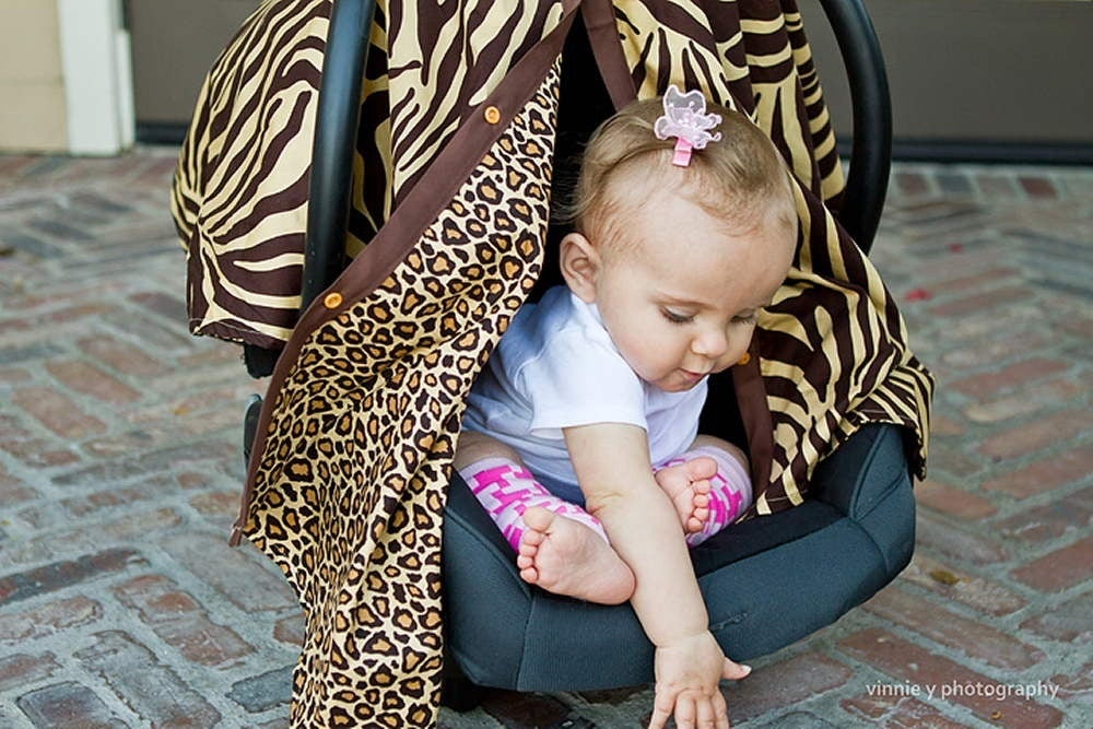 Image of CAR SEAT CANOPY - SAFARI ZEBRA & CHEETAH