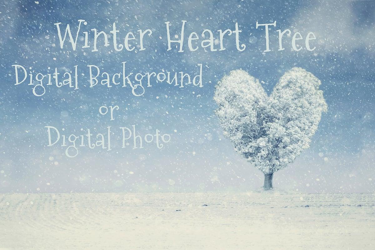 Image of Winter Heart Tree Digital Background