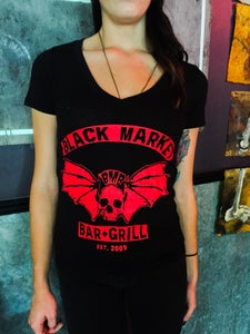 Image of Black Market Skull Wings-Ladies Deep V-Neck Shirt