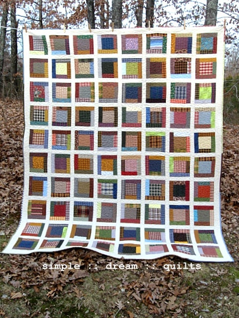 "Image of quilt - full size - 90"" x 72"" - farmhouse quilt - framed squares design"