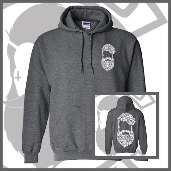 Image of Heather Grey Beard & Ink Large Patterned Logo Unisex Hoody