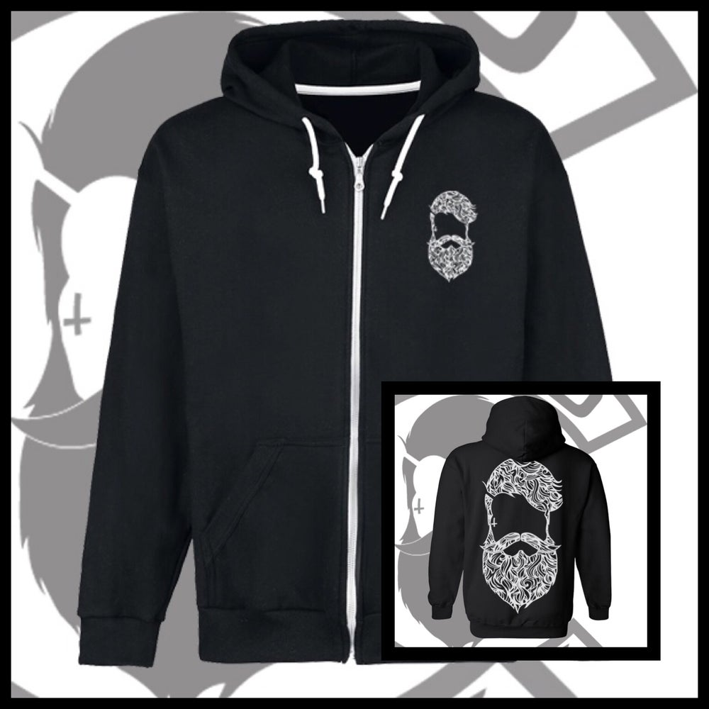 Image of Black Beard & Ink Large Patterned Logo Unisex Zip Up Hoody