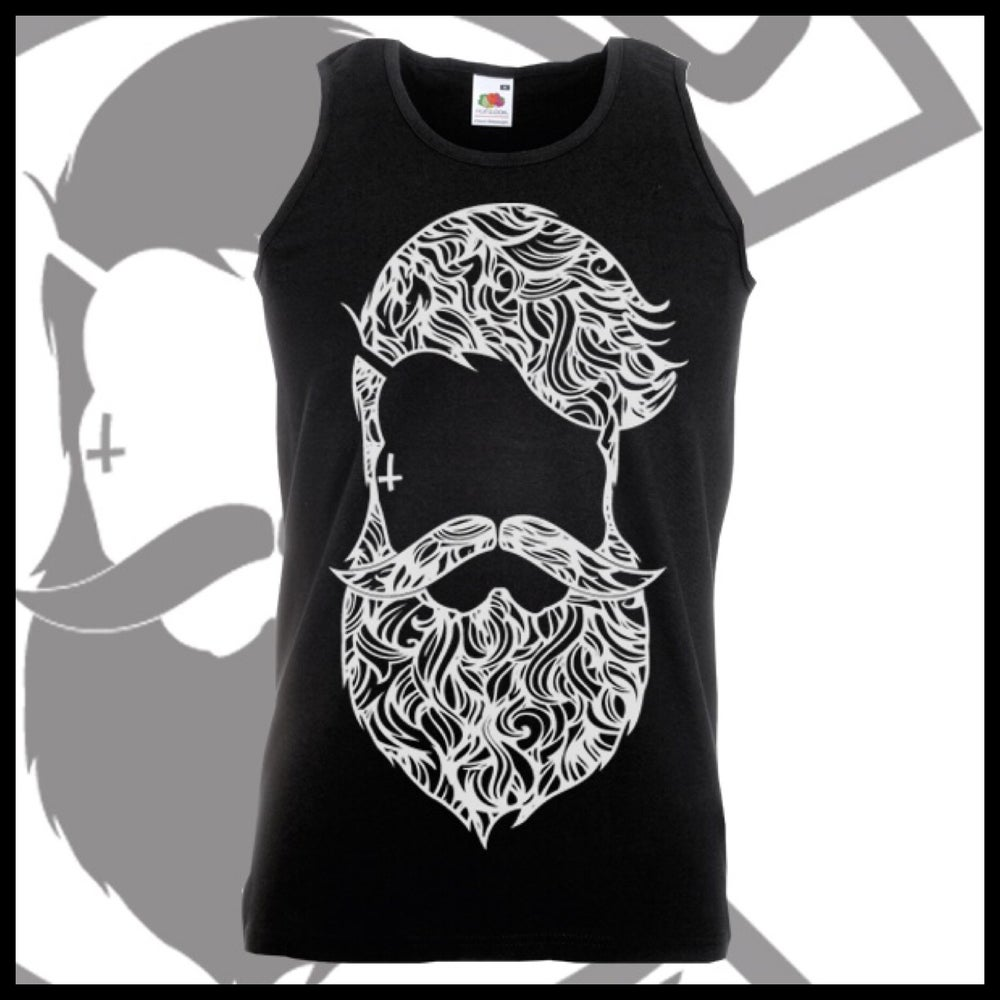 Image of Black Beard & Ink Large Patterned Logo Vest