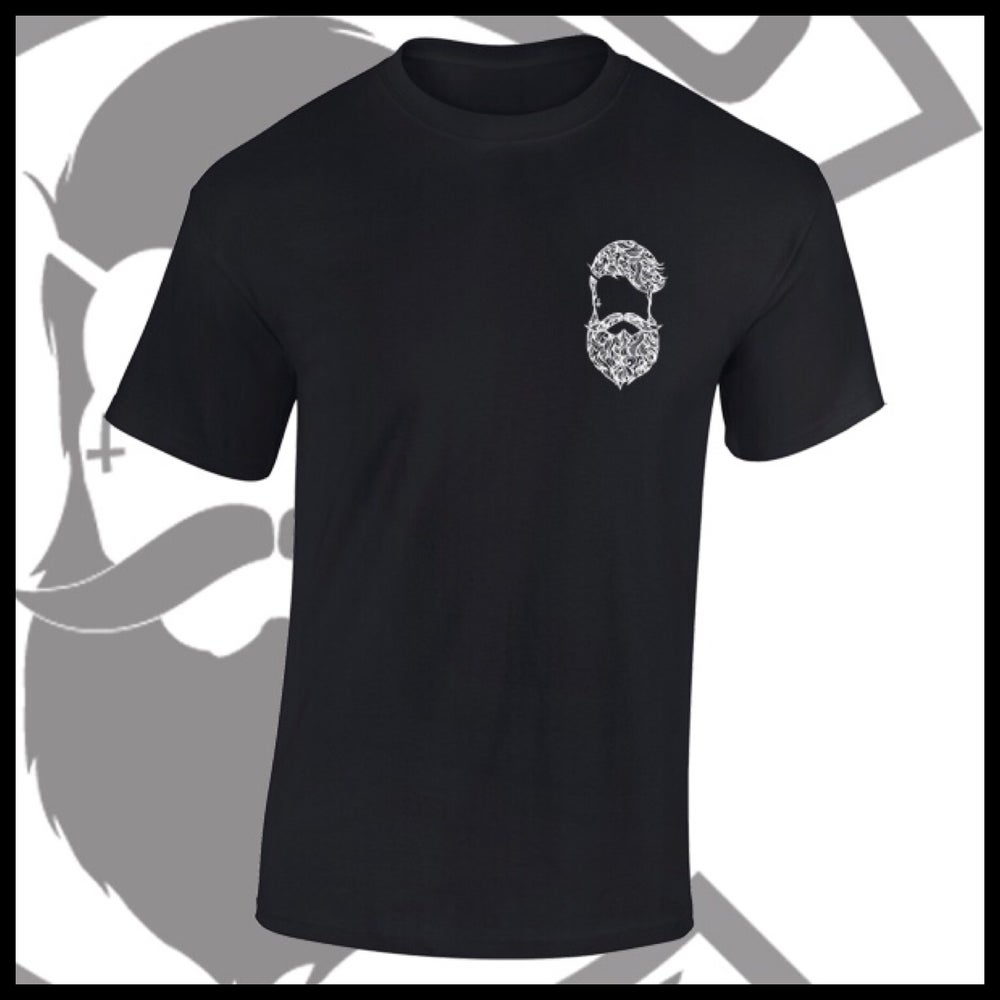 Image of Black Beard and Ink Chest Patterned Logo Tee