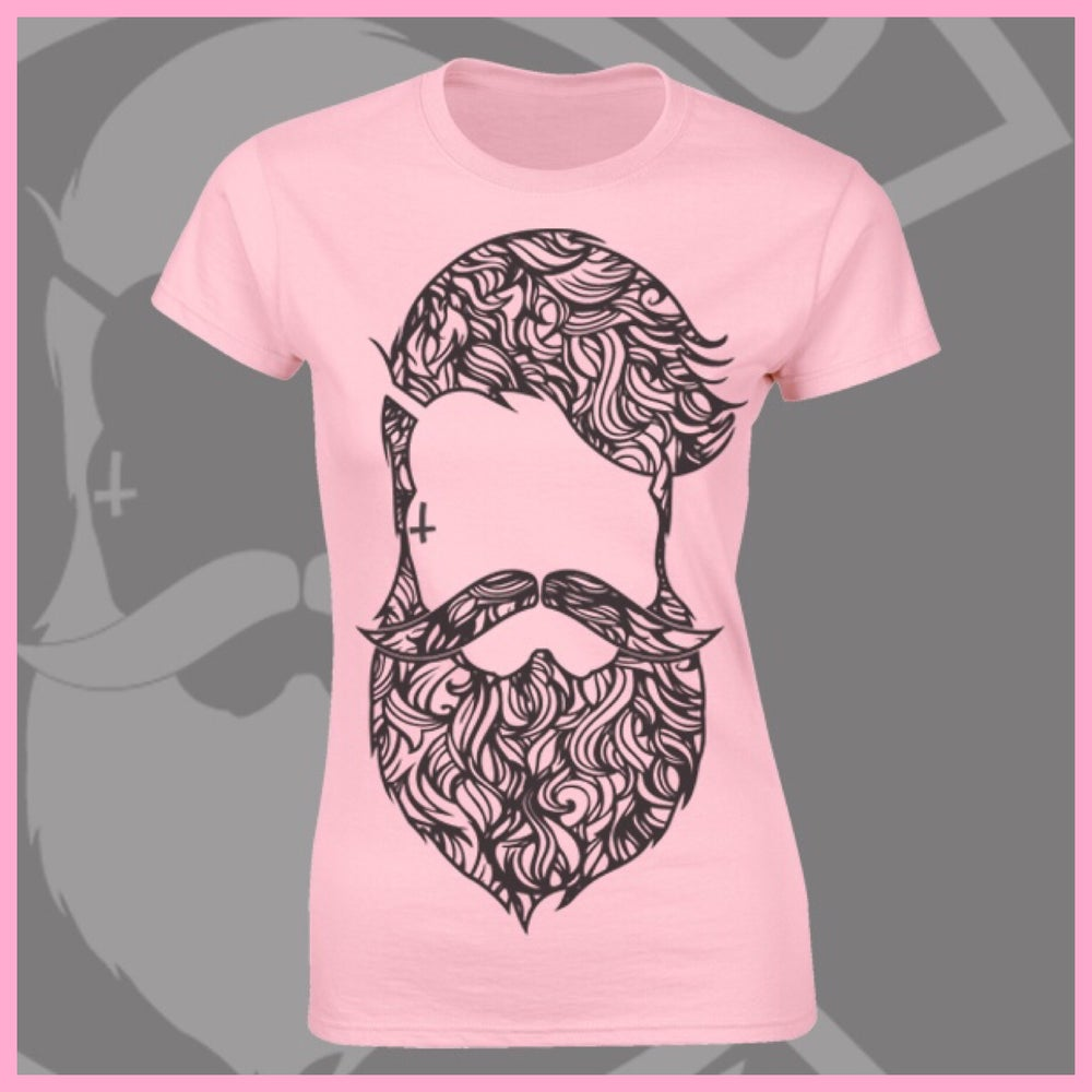Image of Baby Pink Beard & Ink Large Patterned Logo Tee