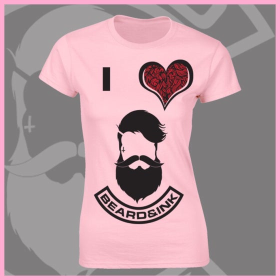 Image of Baby Pink I ❤️ Beard & Ink Front Logo Tee