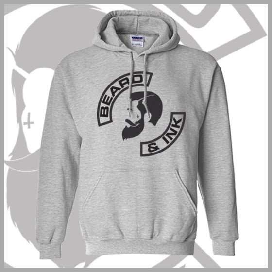 "Image of Grey Front Beard & Ink ""The Gent"" Logo Unisex Hoody"