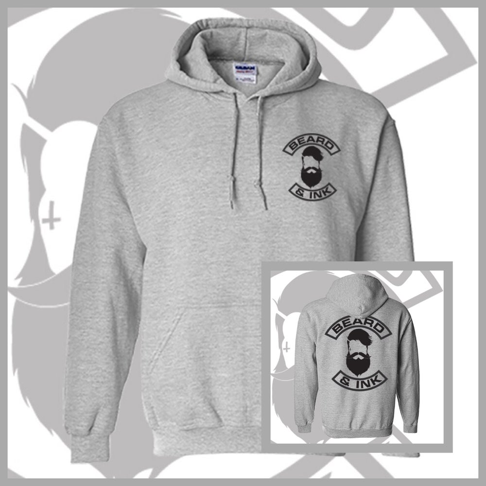 Image of Grey Rear Beard & Ink Classic Logo Unisex Hoody