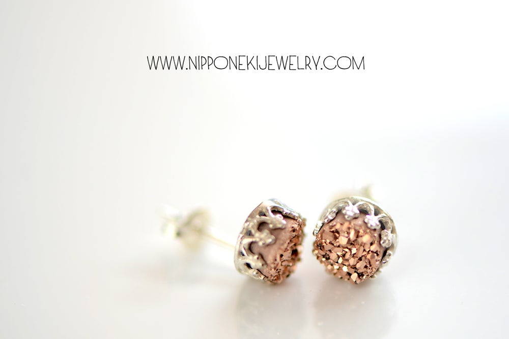 Image of ROSE GOLD DRUZY STUDS IN STERLING SILVER , 6MM DRUZY CROWN BEZEL STUDS