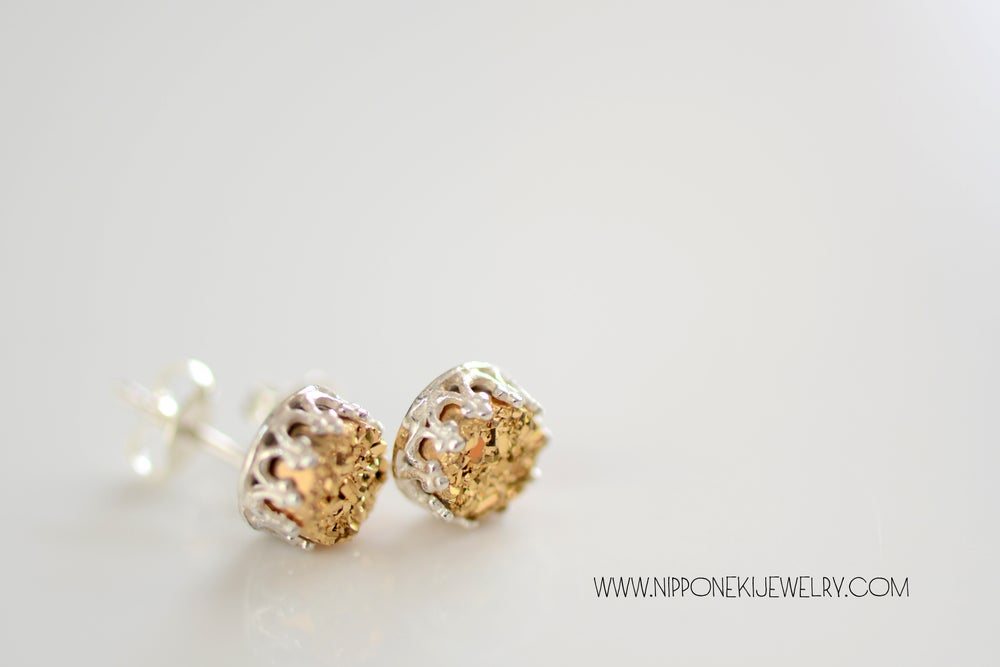 Image of GOLD DRUZY STUDS IN STERLING SILVER , 6MM DRUZY CROWN BEZEL STUDS