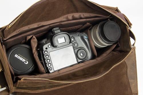 Image of Vintage Genuine Leather DSLR Camera Bag SLR Camera Bag Leather Camera Bag 6919