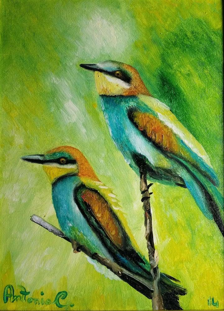 Image of uccelli Olio su tela