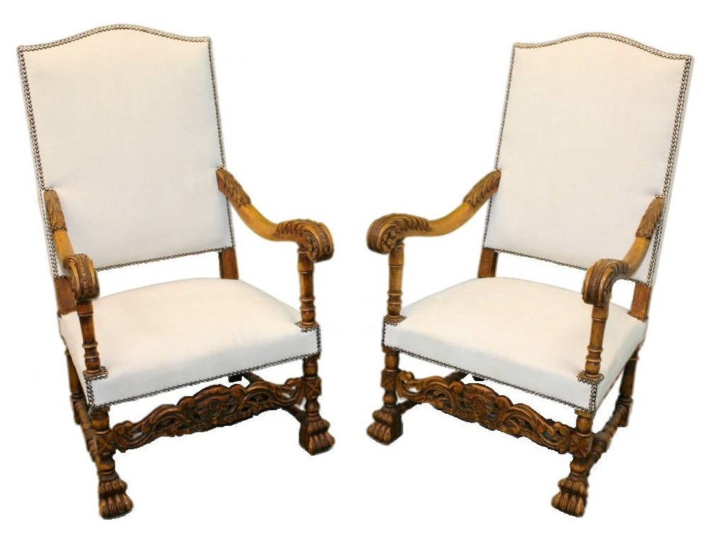 Image Of A Pair Of Louis XIII Throne Chairs ...