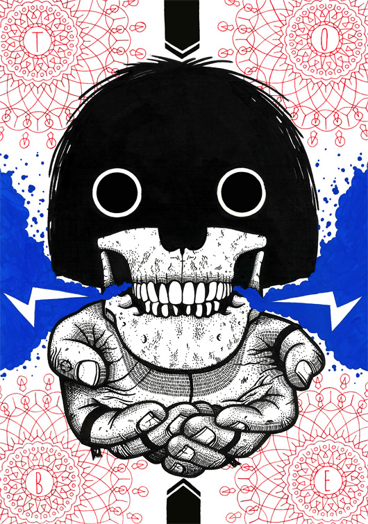 Image of Mop Top Skull Screen Print