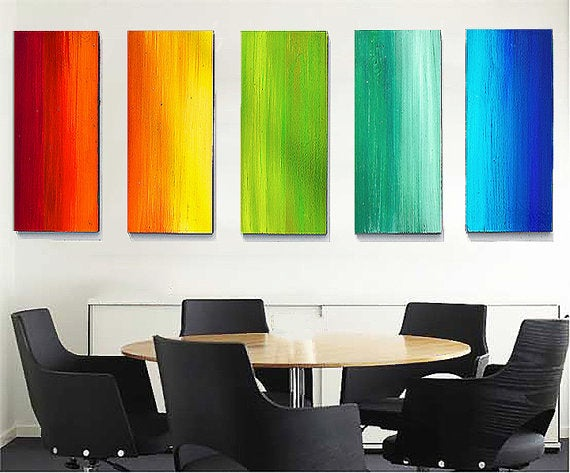 Image of 'COLOR SPECTRUM' | Large Original Painted Wood Wall Sculpture | Installation art