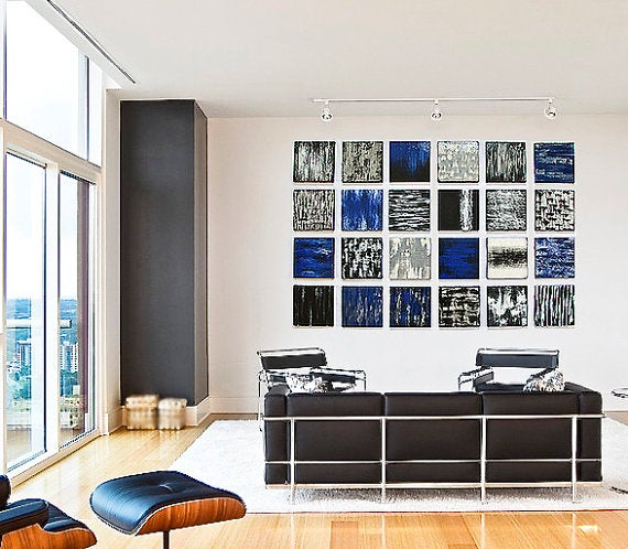 Image of 'POETIC BLOCKS' | Black, white & blue | Painted Wood Abstract Wood Blocks | Modern Art